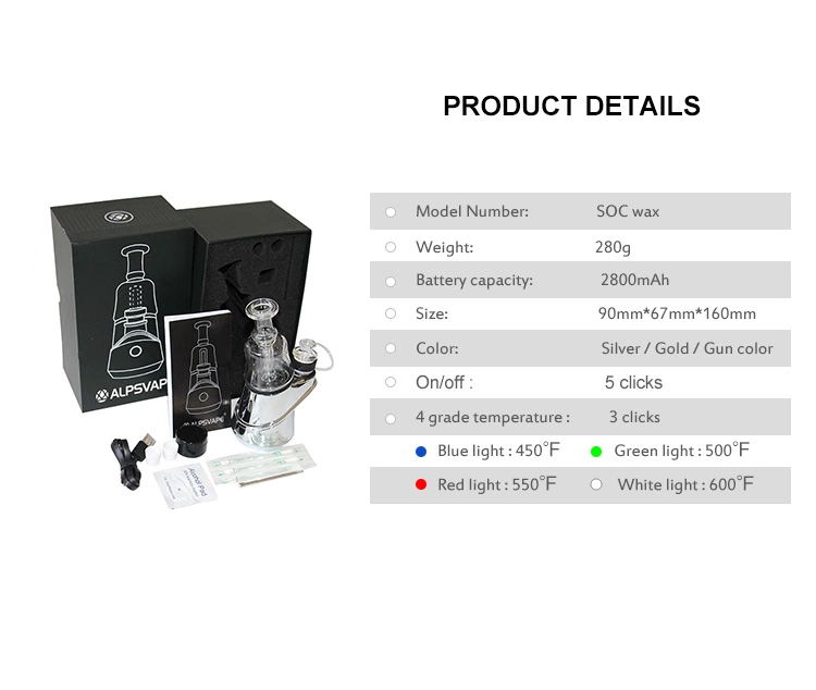 Soc Peak Electric Dab Rig with wax atomizer